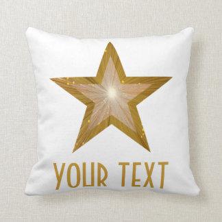 """""""金ゴールド星""""の「あなたの文字」の装飾用クッションの正方形の白 クッション"""