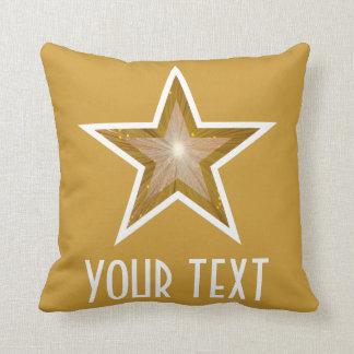 """""""金ゴールド星""""の「あなたの文字」の装飾用クッションの正方形の金ゴールド クッション"""