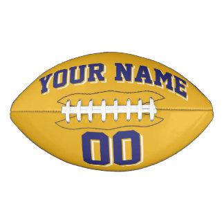 金ゴールド海軍および白くカスタムなフットボール アメリカンフットボール