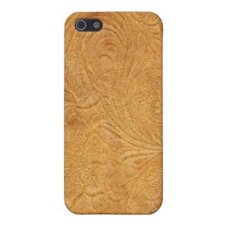 金ゴールド用具の革パターンSpeckの場合のiPhone 4 iPhone 5 Cover