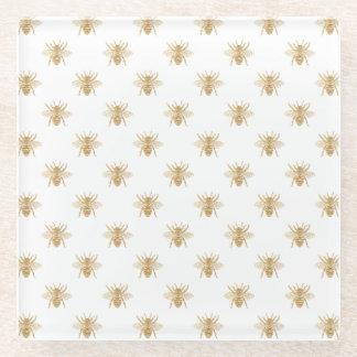 金ゴールド白の金属模造のなホイルの写真効果の蜂 ガラスコースター