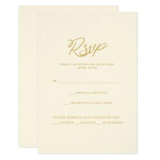 金ゴールド私達は結婚披露宴メニューRSVPカードの台本を書きます カード