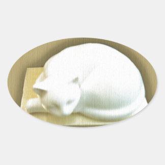 金ゴールド箱IIの猫 楕円形シール