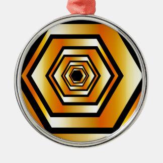 金ゴールド色の金属六角形の錯覚 シルバーカラー丸型オーナメント