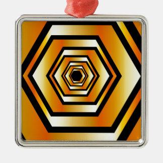 金ゴールド色の金属六角形の錯覚 メタルオーナメント