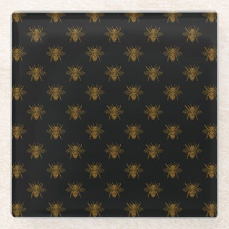 金ゴールド黒の金属ホイルの蜂 ガラスコースター