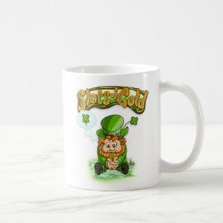 金ゴールド4の葉のクローバーのマグのスロット コーヒーマグカップ