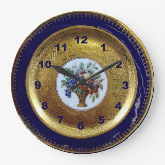 金ゴールド、コバルトブルーおよび花の旧式なプレート ラージ壁時計