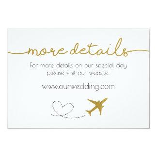 金ゴールド、旅行テーマの結婚式の明細カード カード