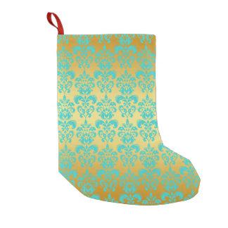 金ゴールド、水の青いダマスク織パターン2 スモールクリスマスストッキング