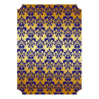 金ゴールド、濃紺のダマスク織パターン2 12.7 X 17.8 インビテーションカード