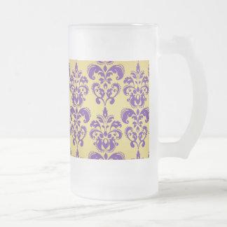 金ゴールド、紫色のダマスク織パターン2 フロストグラスビールジョッキ