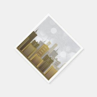 金ゴールド、銀、都市スカイライン、休日 スタンダードカクテルナプキン