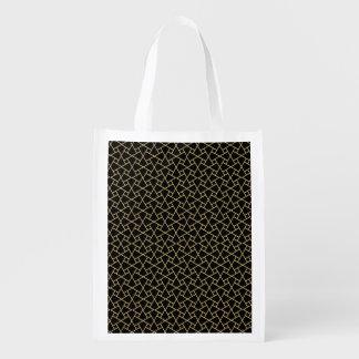 金ゴールド、黒のイスラム教パターン再使用可能な買い物袋 エコバッグ