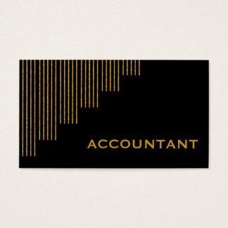 金ゴールド、黒の縦ストライブ柄の会計士 名刺