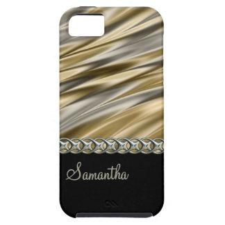 金ゴールド、黒、銀製の鎖、モノグラム iPhone SE/5/5s ケース
