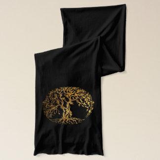 (金ゴールド) Mehndiの生命の樹2 スカーフ
