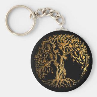 (金ゴールド) Mehndiの生命の樹 キーホルダー