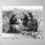 金ゴールドc. 1889年のための3人および犬のPANNING ポスター