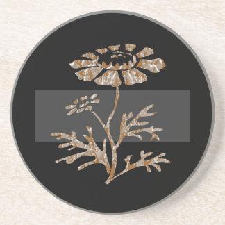 金ゴールドnの銀によって刻まれる花の黒い美しい コースター
