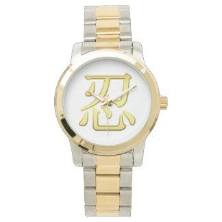 金ゴールドNINの漢字のツートーン金ゴールドそして銀の腕時計 腕時計