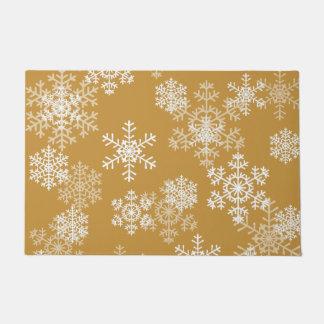 金ゴールドOrcheのクリスマスの雪片のドア・マット ドアマット