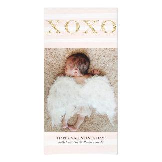 金ゴールドXOXOのバレンタインデーの写真カード カード