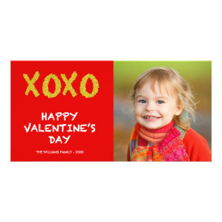 金ゴールドXOXO |のバレンタインデーの写真カード カード