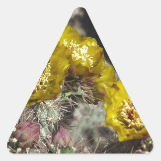 金サボテンの花 三角形シール