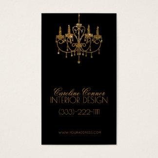 金シャンデリアのインテリア・デザイナーの黒カード 名刺