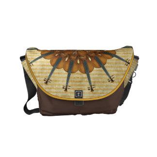 金ストライプのバイオリンのヒマワリ メッセンジャーバッグ