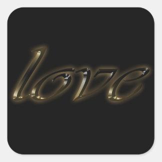 金タイポグラフィの金ゴールドの文字の光沢があるエレガントな愛 スクエアシール