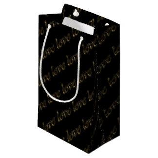 金タイポグラフィの金ゴールドの文字の光沢があるエレガントな愛 スモールペーパーバッグ