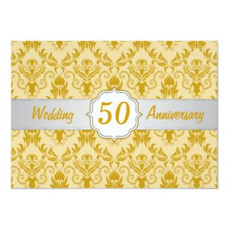 金ダマスク織、第50結婚記念日 12.7 X 17.8 インビテーションカード