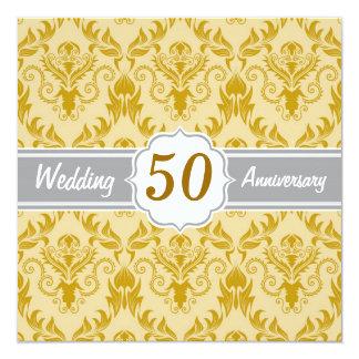 金ダマスク織、第50結婚記念日 13.3 スクエアインビテーションカード