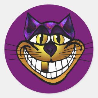 金チェシャー猫のステッカー ラウンドシール