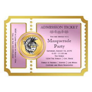 金チケットのピンクおよび金ゴールドの仮面舞踏会のパーティ カード