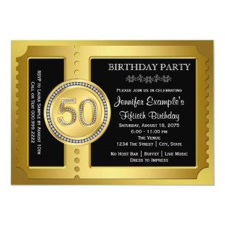 金チケットの第50誕生会 12.7 X 17.8 インビテーションカード