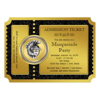 金チケットの金ゴールドの仮面舞踏会のパーティ 12.7 X 17.8 インビテーションカード