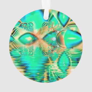 金ティール(緑がかった色)の孔雀、抽象的な銅の水晶 オーナメント