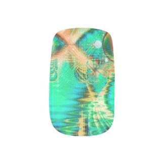 金ティール(緑がかった色)の孔雀、抽象的な銅の水晶 ネイルアート