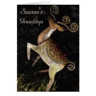 金トナカイのクリスマスカード グリーティングカード
