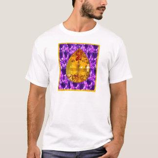 金トパーズの紫色の宝石の芸術 Tシャツ
