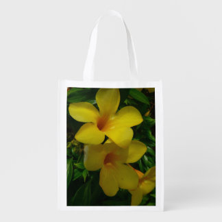 金トランペット花IIの熱帯花柄 エコバッグ