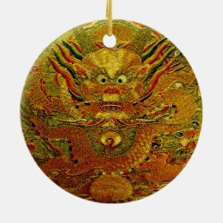 金ドラゴンの中国のな刺繍の明王朝 セラミックオーナメント