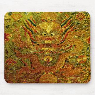 金ドラゴンの中国のな刺繍の明王朝 マウスパッド