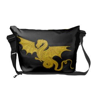 金ドラゴンの人力車のバッグ メッセンジャーバッグ