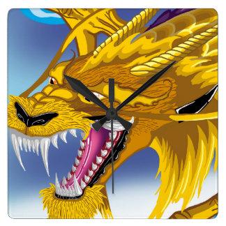 金ドラゴンの時計 スクエア壁時計