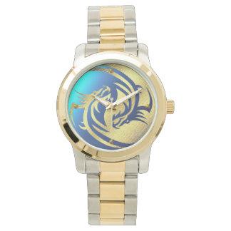 金ドラゴンの陰陽の腕時計 腕時計
