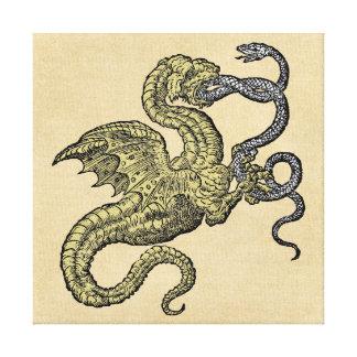 金ドラゴン対銀製のヘビ キャンバスプリント